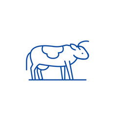 cute cow line icon concept cute cow flat vector image