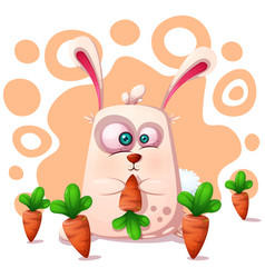 cute funny rabbit with carrot vector image