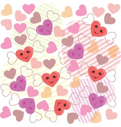 Cute hearts pattern vector image