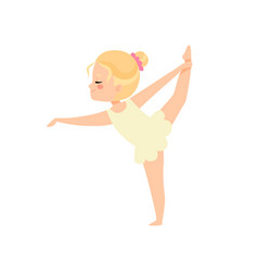 Cute little ballerina doing exercise blonde girl vector