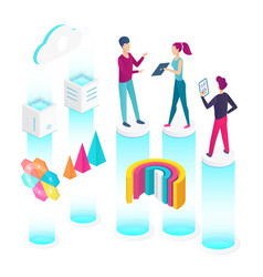 data analysis isometric isometric vector image