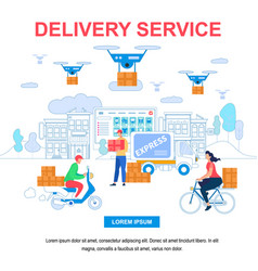 Delivery service square banner with copy space vector