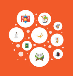 flat icons holy book dromedary genie and other vector image