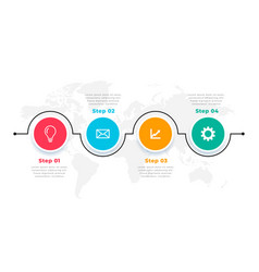 Four steps timeline circular infohraphic template vector