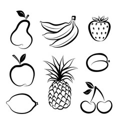 Fruit icon set doodle line dessert collection vector