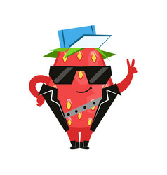 Funny strawberry in a black vest and glasses vector