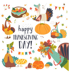 Funny turkeys with thanksgiving theme on white vector