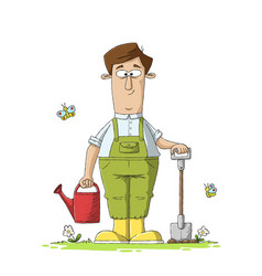 Gardener with shovel and watering can vector