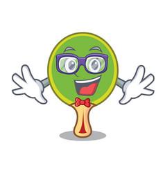 Geek ping pong racket character cartoon vector