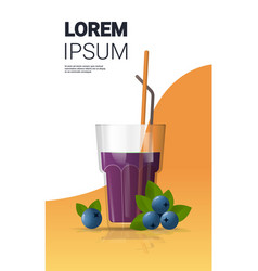glass fresh blueberry juice with straw and vector image