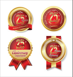 Golden badge anniversary collection 25 years vector