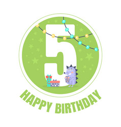 green circle with number 5 for birthday vector image