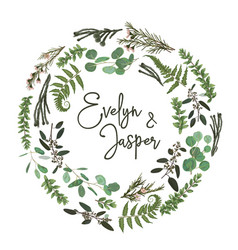 Green wreath frame made from twigs and leaves vector
