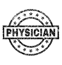 Grunge textured physician stamp seal vector