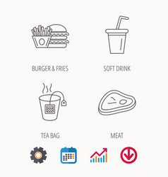 Hamburger meat and soft drink icons vector
