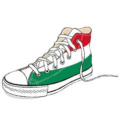 hand draw modern sport shoes with Hungary flag vector image