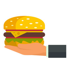 Hand hold burger icon flat style vector