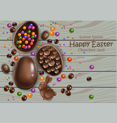 happy easter chocolate eggs card 3d vector image