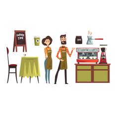 happy man and woman barista wearing plaid shirts vector image