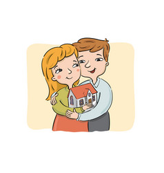 happy young couple holds new house vector image