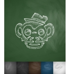 Hipster monkey icon Hand drawn vector