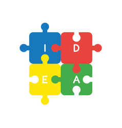 icon concept of four idea jigsaw puzzle pieces vector image