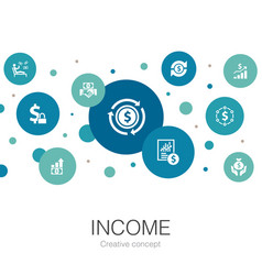 Income trendy circle template with simple icons vector