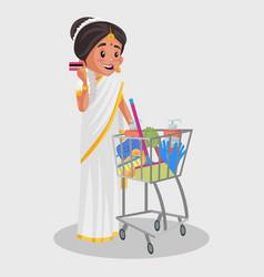 Indian malayali woman cartoon vector