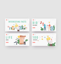Interesting facts landing page template set did vector