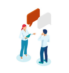 Isometric business people working and speech vector