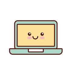 Laptop computer kawaii style isolated icon vector