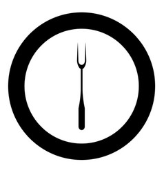 Large fork black icon in circle isolated vector