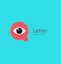 Letter q with eye icon logo design template vector