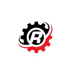 Letter r gear logo design template vector