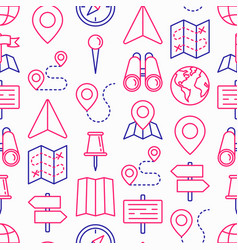 location seamless pattern with thin line icons vector image