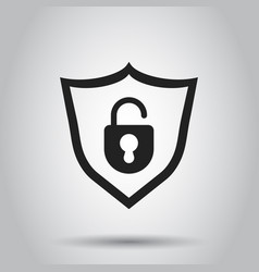lock with shield security icon on white vector image