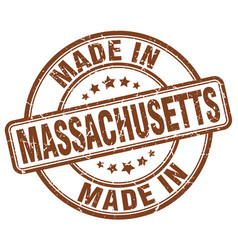 Made in massachusetts brown grunge round stamp vector