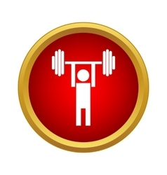Man lifting a barbell icon in simple style vector