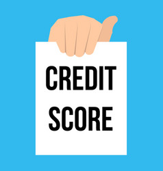 man showing paper credit score text vector image