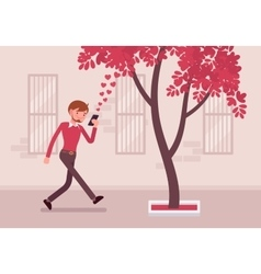 Man walks with smartphone to bump into a tree vector image
