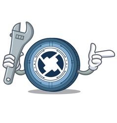 Mechanic 0x coin mascot cartoon vector