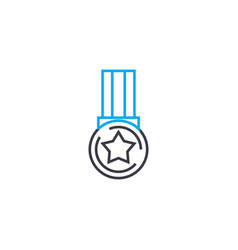 medal of achievement thin line stroke icon vector image