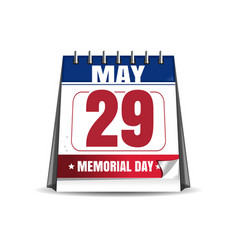 Memorial day 2017 29 may desk calendar vector