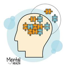 Mental health brain puzzle image vector