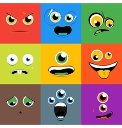 Monster faces icons set in flat style vector