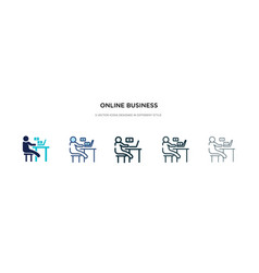 online business icon in different style two vector image