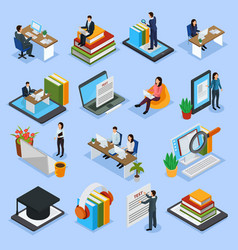 Online education isometric icons vector