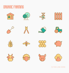 organic farming thin line icons set vector image