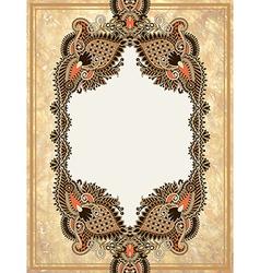 Ornamental floral frame in grunge background vector