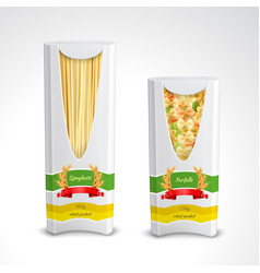 Pasta package realistic set vector